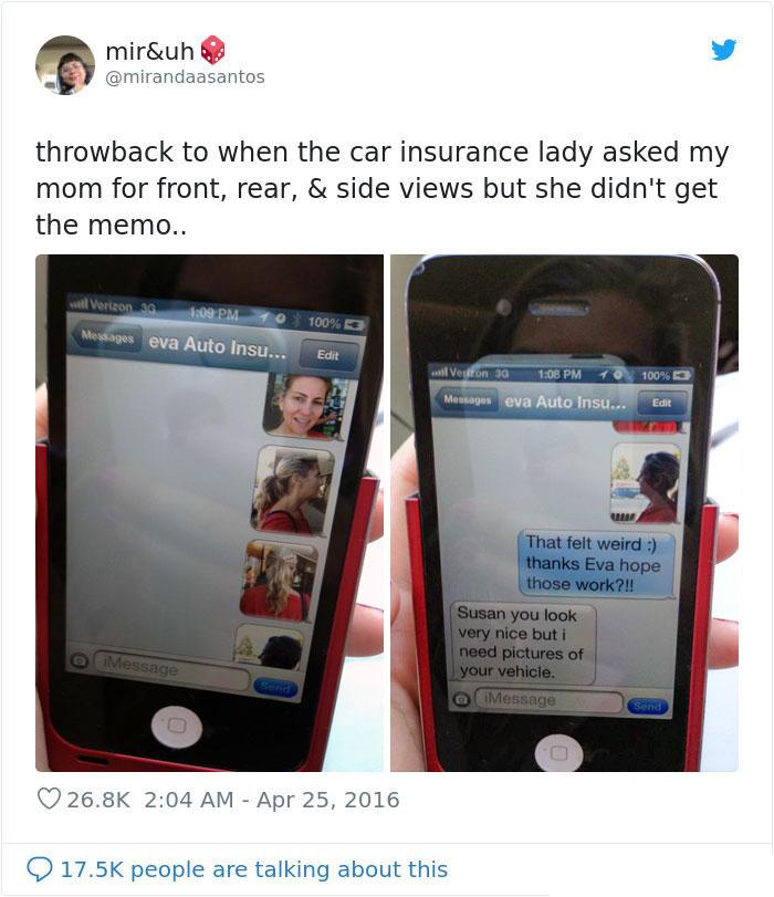 car insurance lady got wrong photos