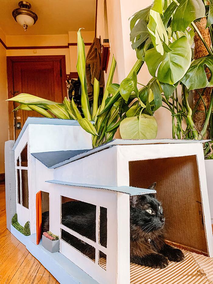 cardboard cat house mid-century modern style