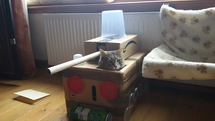 cat military vehicle made from amazon boxes
