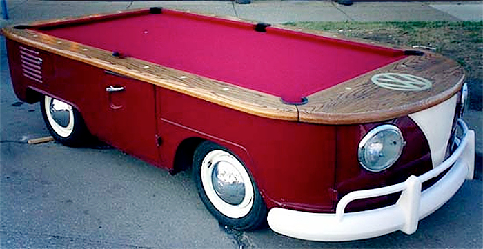 classic hippy van billiard table