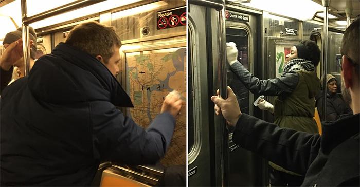 commuters wipe away anti-semitic graffiti