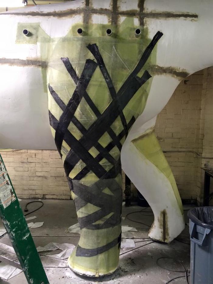 dino statue playground legs fiberglass epoxy