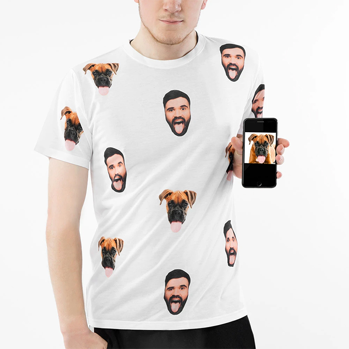 dog and owner faces printed on shirt