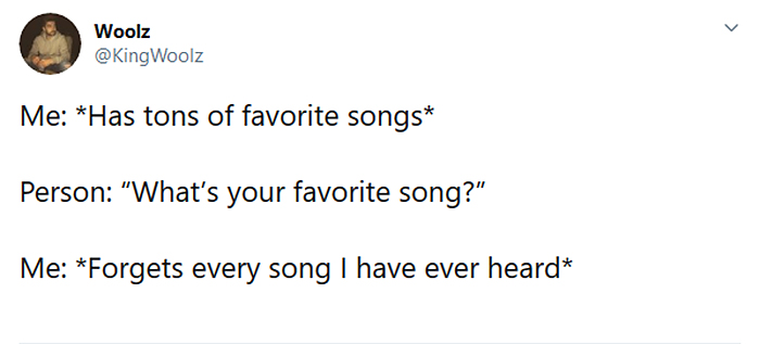 forgets favorite songs
