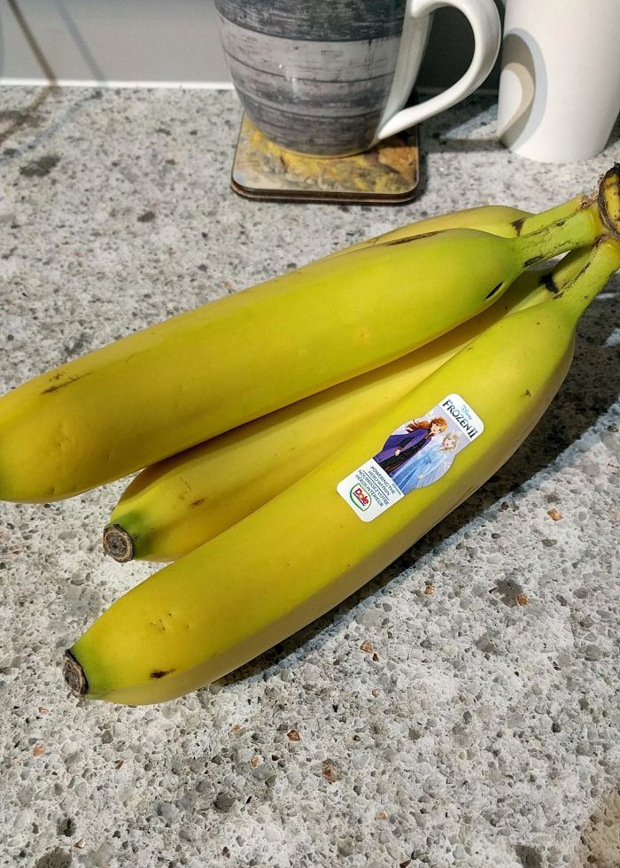 frozen fruit banana with sticker