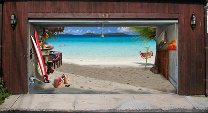 garage door decals beach