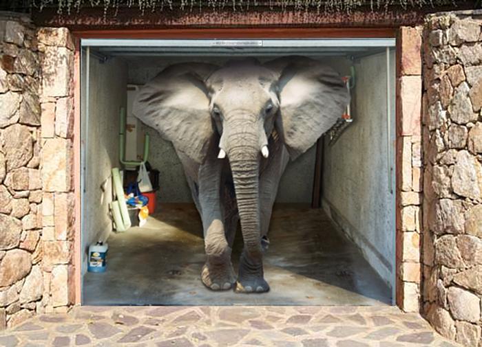 garage door decals elephant