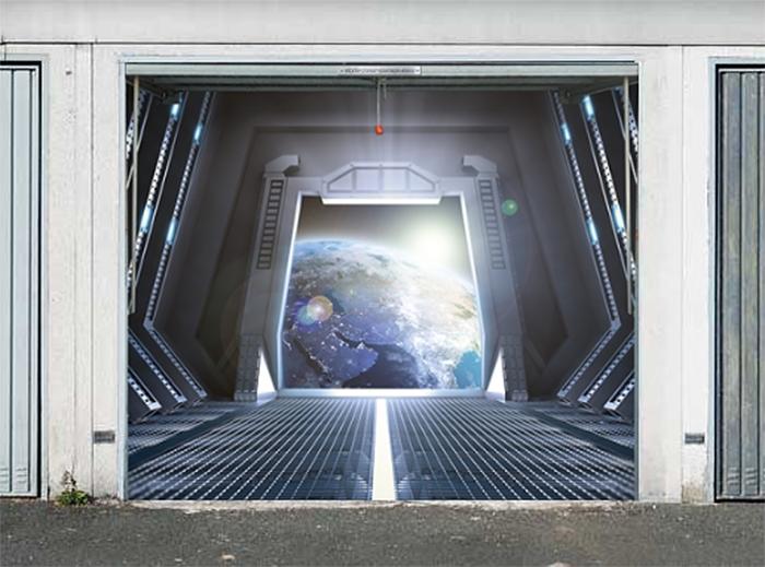 garage door decals space station