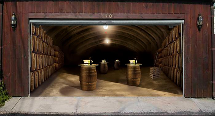 garage door decals wine cellar