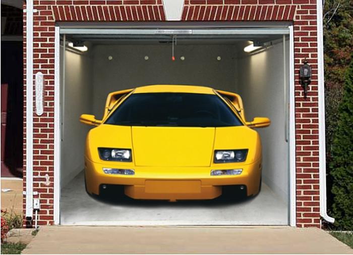 garage door decals yellow sports car