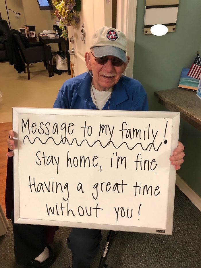 grandpa message to family stay home
