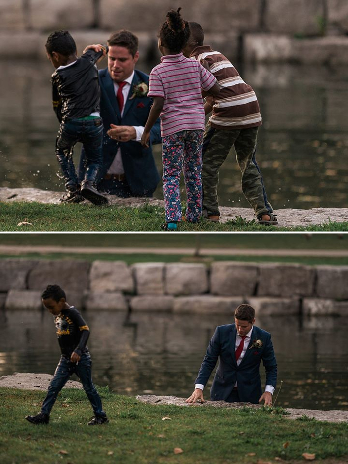 groom saves drowning boy during photoshoot