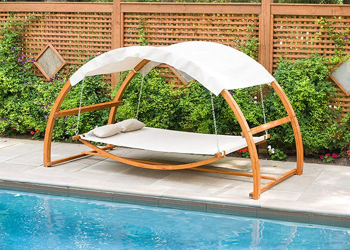 hanging poolside leisure bed with canopy