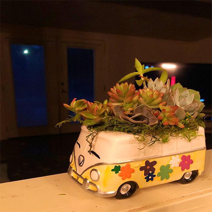 hippie-inspired vw planter