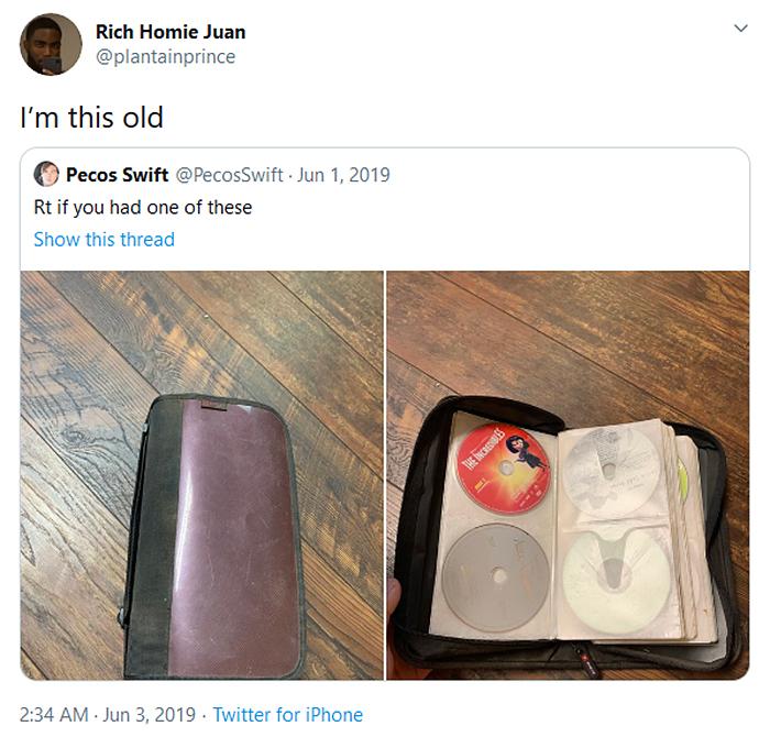 i am this old tweet cd bag