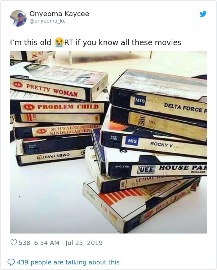 i am this old tweet vhs tapes