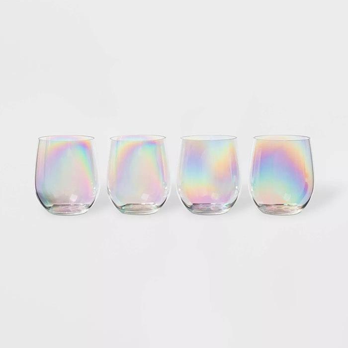 iridescent 14oz stemless wine glass