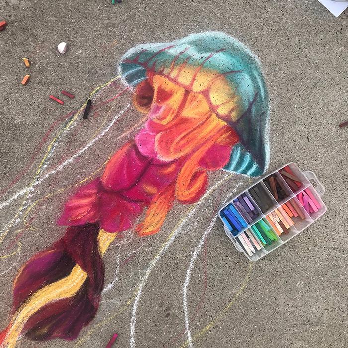 jan riggins and daughter 3d chalk art jellyfish