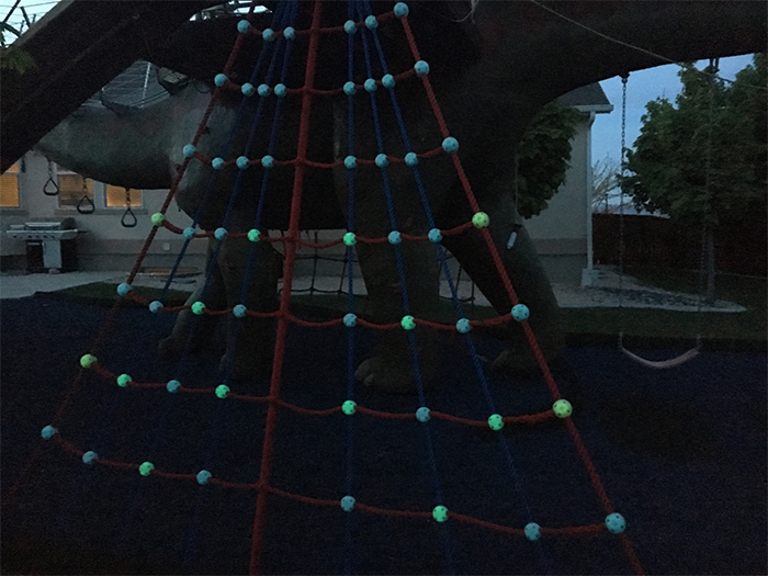 jurassic-themed playground glowing rope clamps