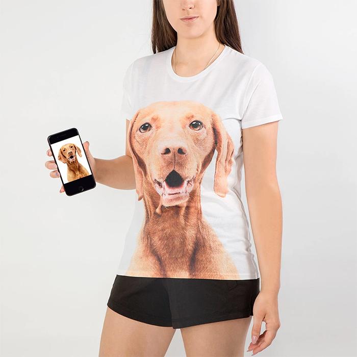 ladies shirt dog's face print