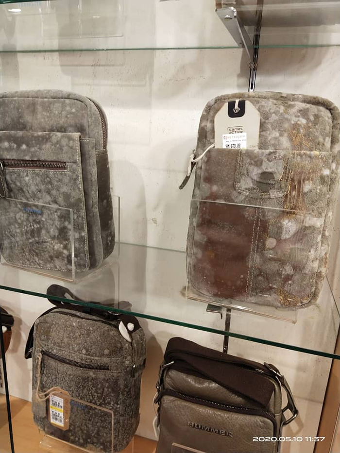 leather bags covered in mildew
