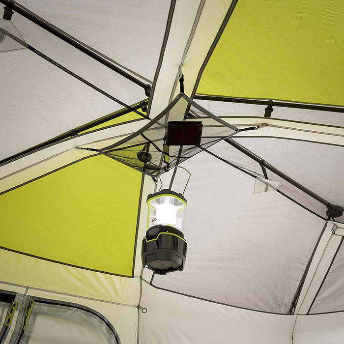 light hanging on the giant tent ceiling