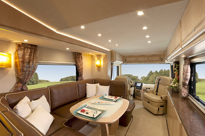 luxury motorhome common area