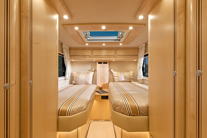 luxury motorhome double bedroom