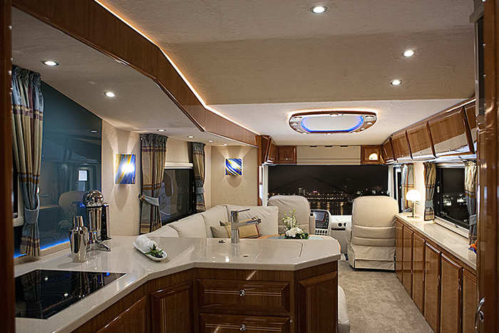 luxury motorhome kitchen area
