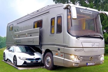 luxury motorhome with built-in garage