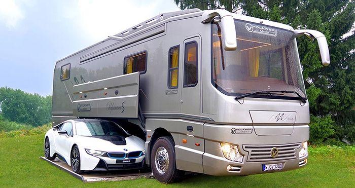 luxury motorhome with built-in garage