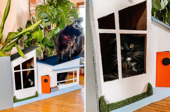 mid-century modern design cardboard cat house