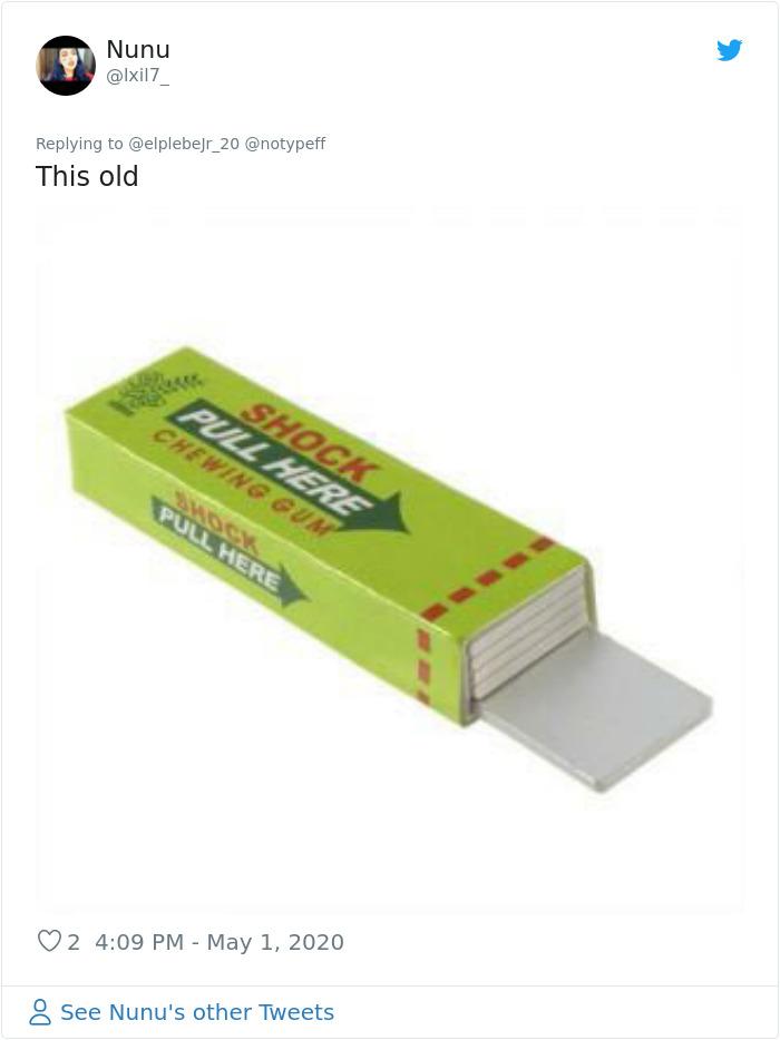 nostalgia 90s things chewing gum shock prank