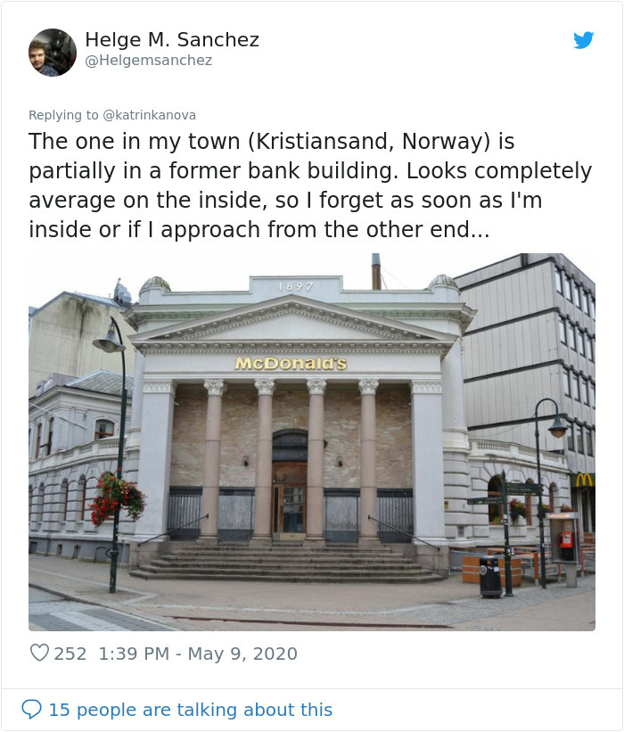 old bank building turned into fast-food restaurant norway