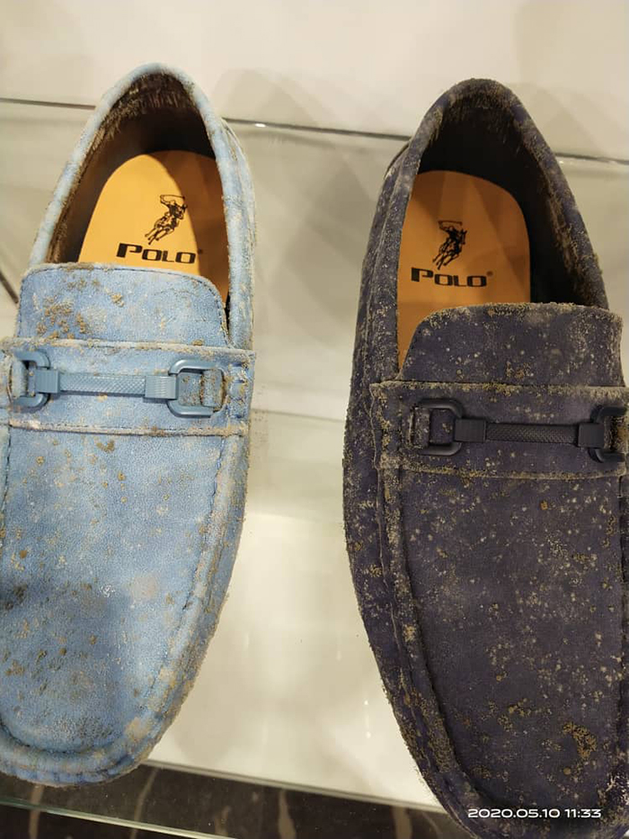 polo shoes covered in mildew