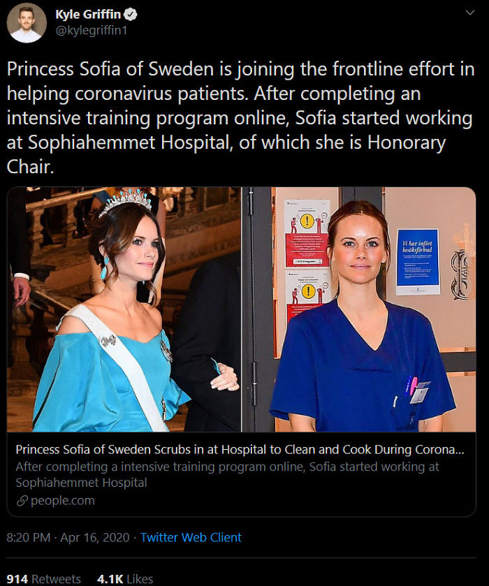 princess of sweden working in the front line