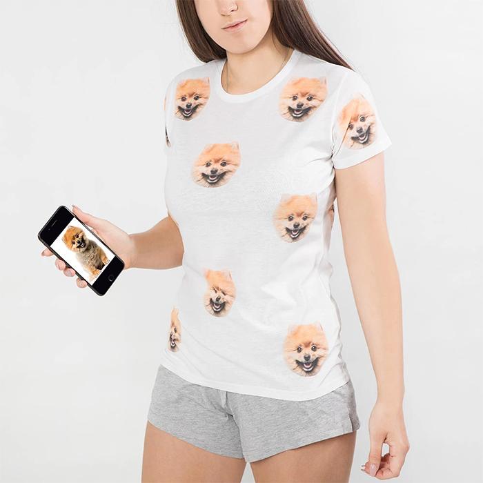 pyjama set with dog's face printed
