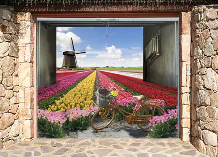 realistic poster field of tulips