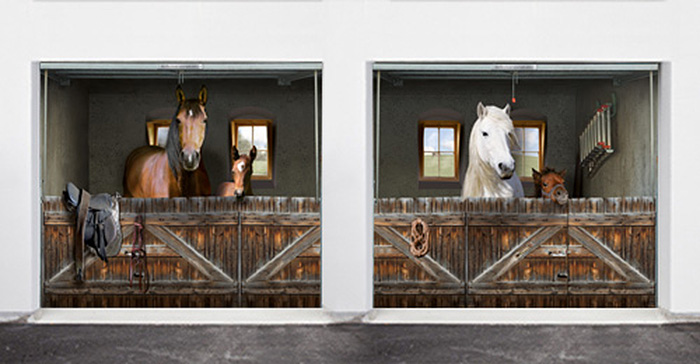 realistic poster multiple garage horse stable