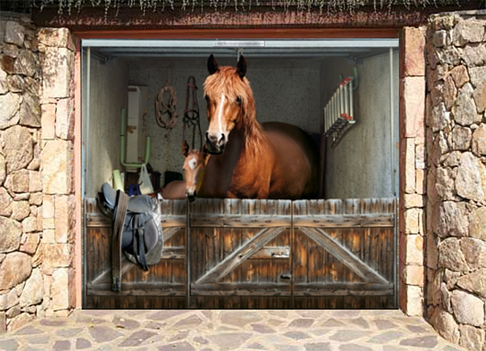 realistic poster single garage horse stable