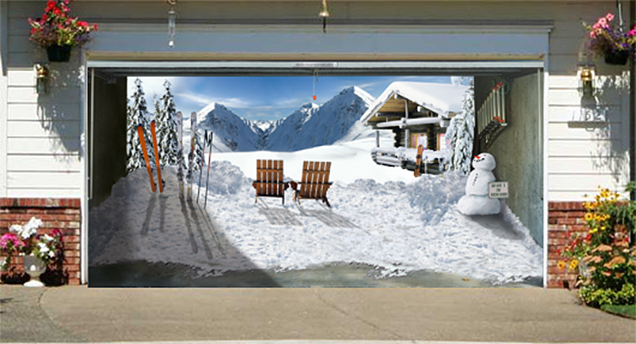 realistic poster winter edition ski chalet