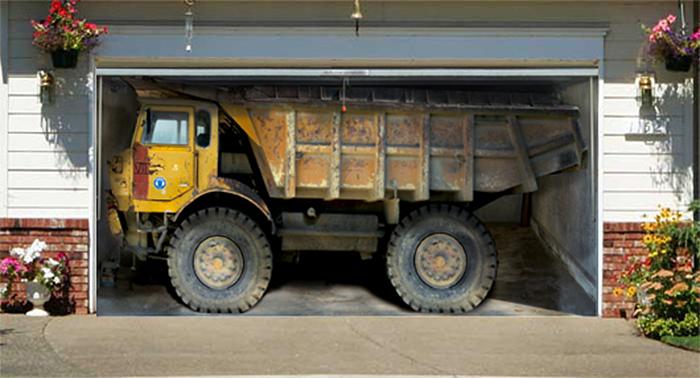 realistic poster xxl garage dump truck