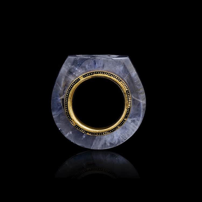 sapphire ring with gold detail