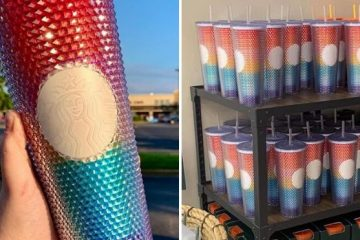 starbucks studded rainbow tumbler