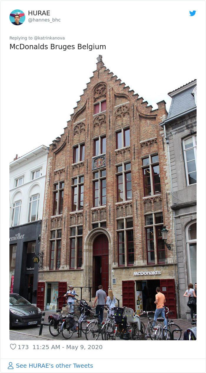 strange mcdonald's church design bruges belgium