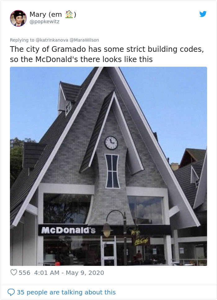 strange mcdonald's gramado triangular roof