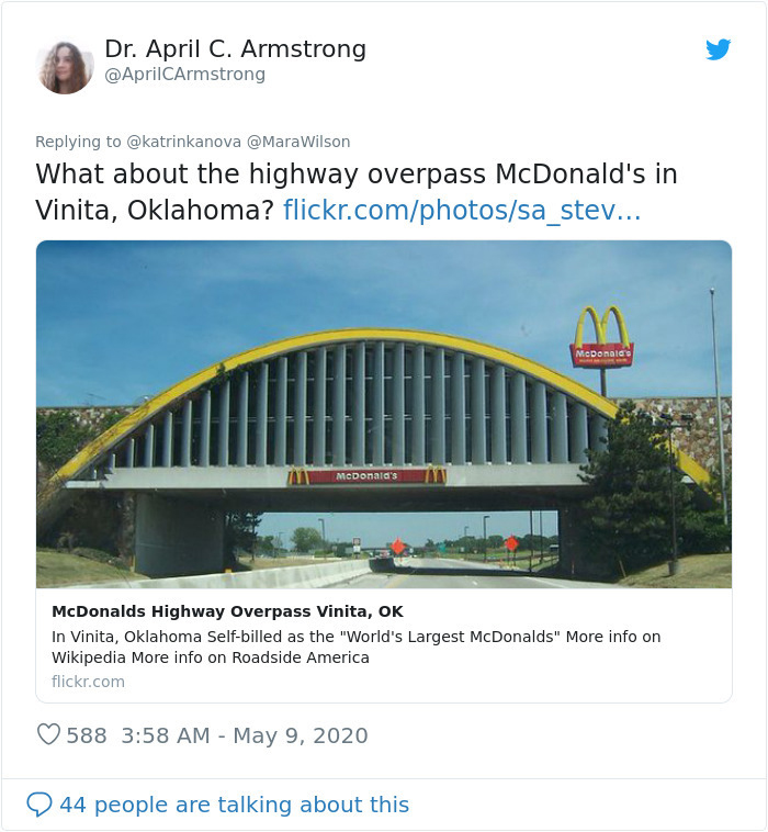 strange mcdonald's highway overpass vinita oklahoma
