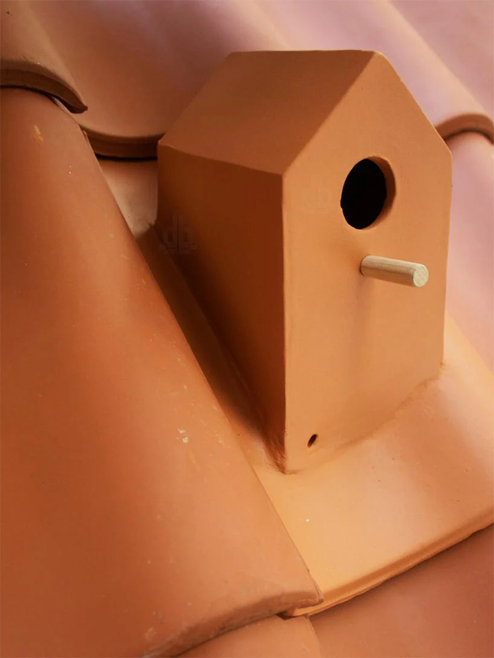 terracotta roof tile doubles as bird house
