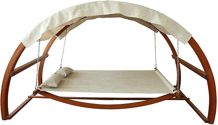 the hanging poolside leisure bed with height-adjustable hammock