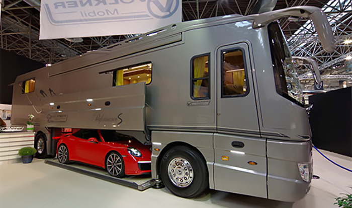 volkner mobil performance s luxury motorhome with built-in garage